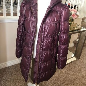 Juicy Couture Burgundy Long Puffer Jacket